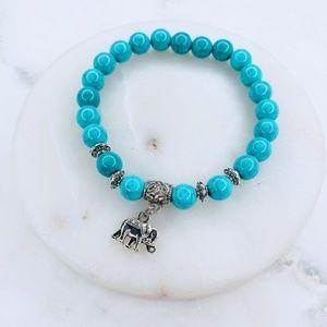 Jewelry - 5 for $25 Blue Color Bead Elephant Charm Bracelet